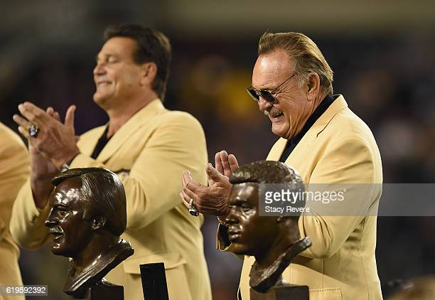 Pro Football Hall of Fame member Dick Butkus is honored at halftime during the game between the Minnesota Vikings and the Chicago Bears at Soldier...
