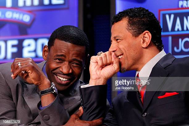 Pro Football Hall of Famers Michael Irvin and Rod Woodson share a laugh on the NFL Network set prior to the announcement of the 2011 Pro Football...