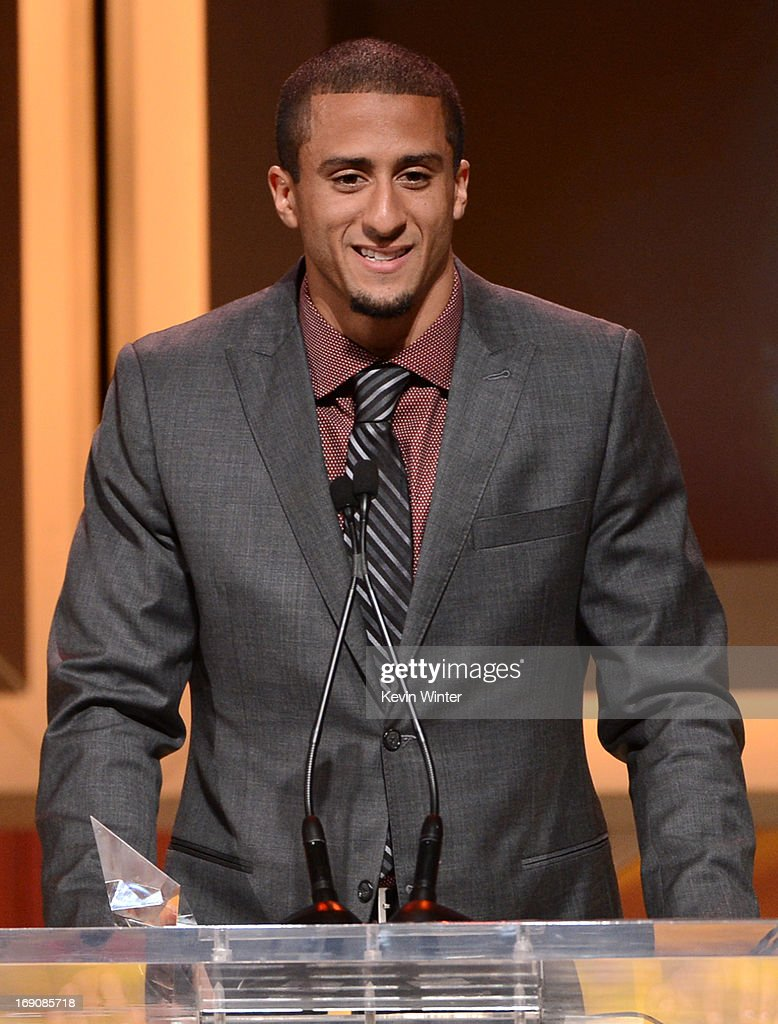 Pro football player <a gi-track='captionPersonalityLinkClicked' href=/galleries/search?phrase=Colin+Kaepernick&family=editorial&specificpeople=5525694 ng-click='$event.stopPropagation()'>Colin Kaepernick</a> speaks onstage after receiving the Breakout Player of the Year Award at the 28th Anniversary Sports Spectacular Gala at the Hyatt Regency Century Plaza on May 19, 2013 in Century City, California.