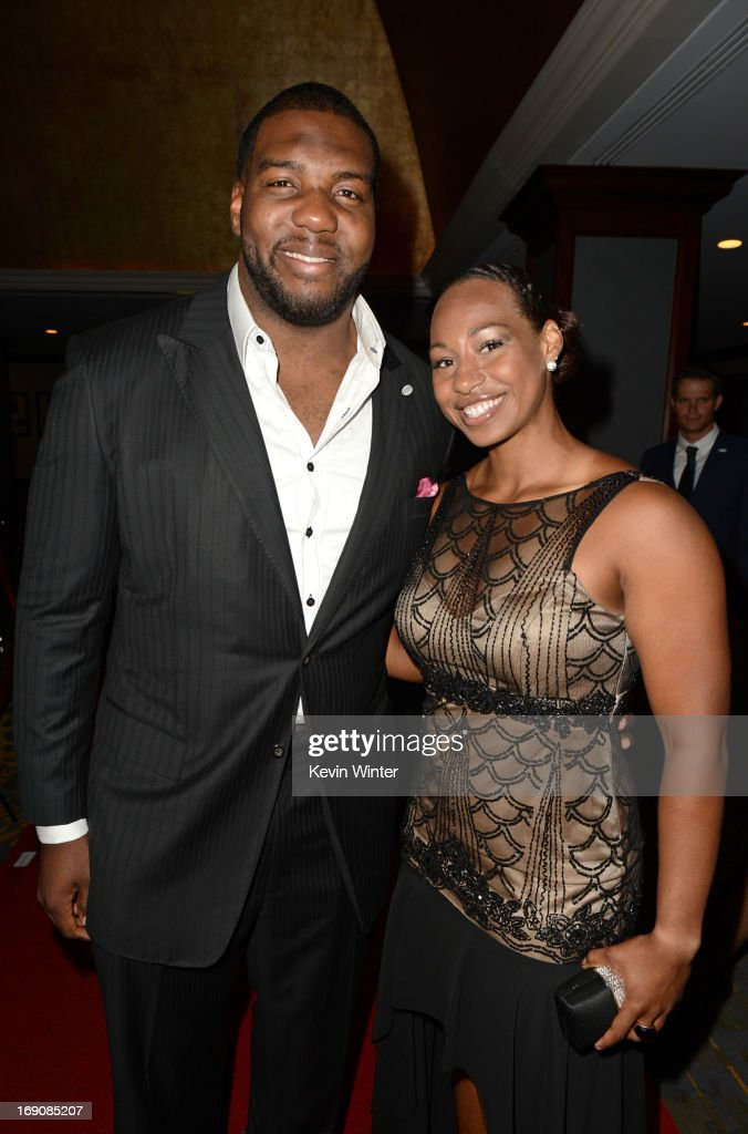 Pro football player Russell Okung and Olympian bobsled pilost Jazmine Fenlator attend the 28th Anniversary Sports Spectacular Gala at the Hyatt Regency Century Plaza on May 19, 2013 in Century City, California.
