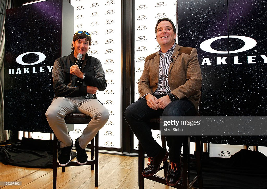 Pro Golfer <a gi-track='captionPersonalityLinkClicked' href=/galleries/search?phrase=Bubba+Watson&family=editorial&specificpeople=597658 ng-click='$event.stopPropagation()'>Bubba Watson</a> and Raphael Peck, Chief Mercandise Officer Global AFA answer question during the Q&A segment at Gansevoort Park Avenue on April 2, 2013 in New York City.
