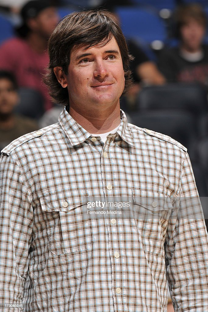Pro golfer, <a gi-track='captionPersonalityLinkClicked' href=/galleries/search?phrase=Bubba+Watson&family=editorial&specificpeople=597658 ng-click='$event.stopPropagation()'>Bubba Watson</a>, attends the game between the Orlando Magic and the Miami Heat on March 25, 2013 at Amway Center in Orlando, Florida.