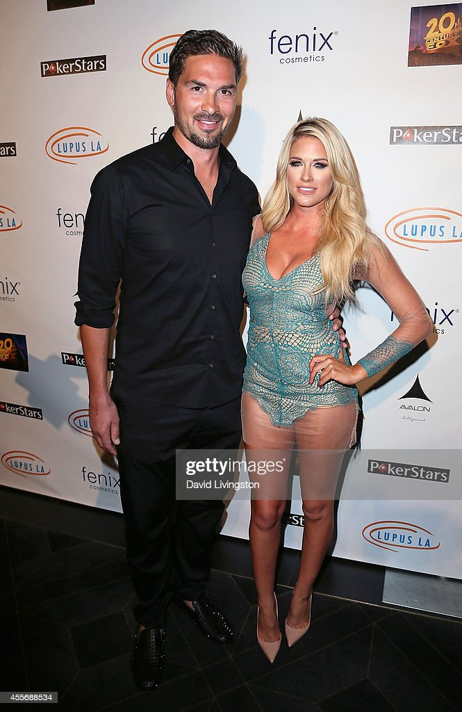 Pro hockey player Sheldon Souray and pro wrestler Barbie Blank aka Kelly Kelly attend the Stars Get Lucky For Lupus 6th Annual Poker Tournament at...