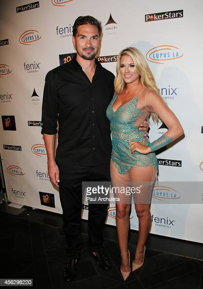 Pro Hockey Player Sheldon Souray and WWE Diva Barbie Blank attend the 'Get Lucky For Lupus LA' celebrity poker tournament at Avalon on September 18...