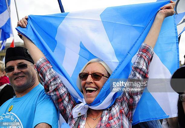 Pro Independence supporters hold a rally in George Square in Glasgow Scotland on September 19 2015 Scotland's First Minister on Friday warned that a...