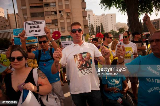 Pro joint custody demonstrators gather to support Italian man Francesco Arcuri in front of the court of Granada where he has arrived after being...