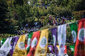 Pro Kurdish supporters gather during a rally against military coup and the state of emergency one week after a failed coup at the Gazi district in...