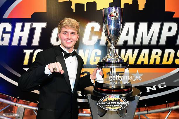 Pro Series East Champion William Byron poses with his trophy during the NASCAR Night of Champions Touring Awards at the Charlotte Convention Center...