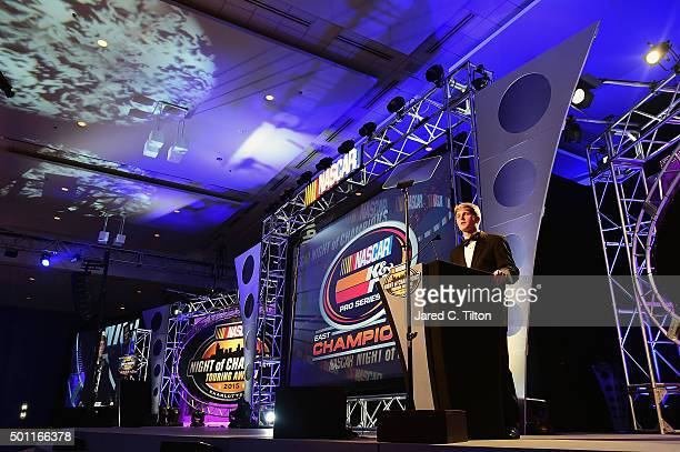 Pro Series East Champion William Byron speaks during the NASCAR Night of Champions Touring Awards at the Charlotte Convention Center on December 12...
