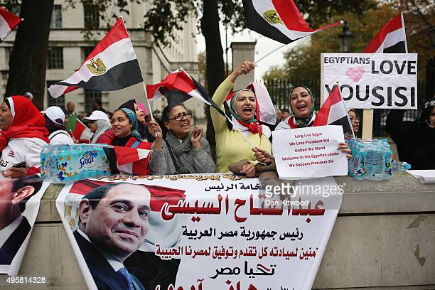 Pro Sisi Protesters gather outside Downing Street ahead of a visit by the Egyption President Abdel Fattah alSisi on November 5 2015 in London England...