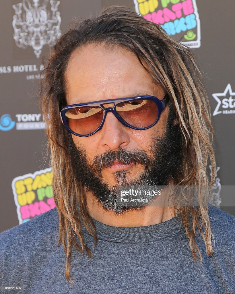 Pro Skateboarder / Musician <a gi-track='captionPersonalityLinkClicked' href=/galleries/search?phrase=Tony+Alva&family=editorial&specificpeople=238911 ng-click='$event.stopPropagation()'>Tony Alva</a> attends the 10th Annual Stand Up For Skateparks benefiting the Tony Hawk Foundation on October 5, 2013 in Beverly Hills, California.