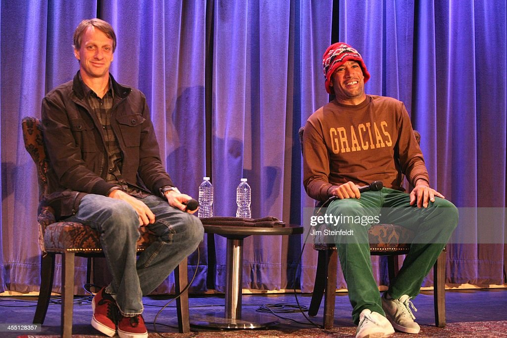 Pro Skateboarder Tony Hawk and musician Ben Harper at press conference for Boards Bands auction at the Grammy Museum in Los Angeles California on...