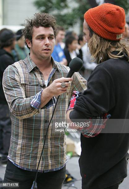 Pro skater Corbin Harris interviews Michael Bolton during the 'Billabong City Squared Skate Event' at World Square on June 27 2009 in Central Sydney...