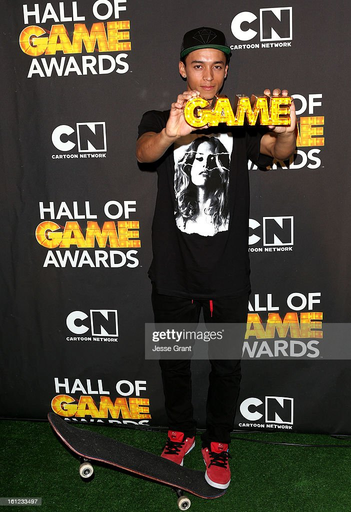 Pro skater Nyjah Huston attends the Third Annual Hall of Game Awards hosted by Cartoon Network at Barker Hangar on February 9, 2013 in Santa Monica, California. 23270_004_JG_0064.JPG