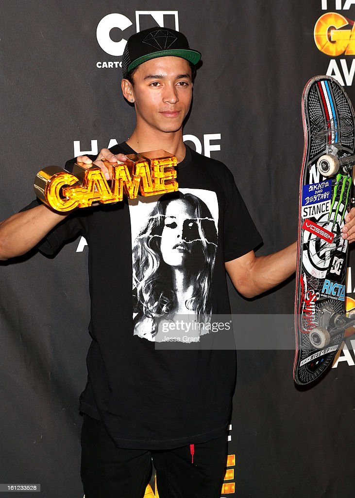 Pro skater Nyjah Huston attends the Third Annual Hall of Game Awards hosted by Cartoon Network at Barker Hangar on February 9, 2013 in Santa Monica, California. 23270_004_JG_0080.JPG