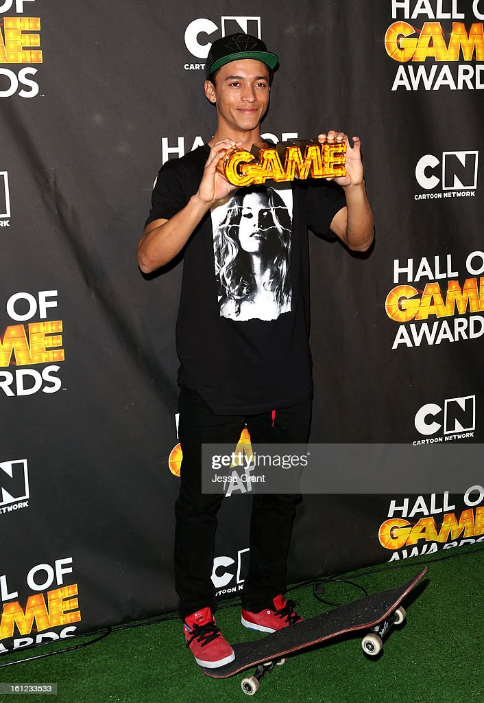 Pro skater Nyjah Huston attends the Third Annual Hall of Game Awards hosted by Cartoon Network at Barker Hangar on February 9, 2013 in Santa Monica, California. 23270_004_JG_0077.JPG