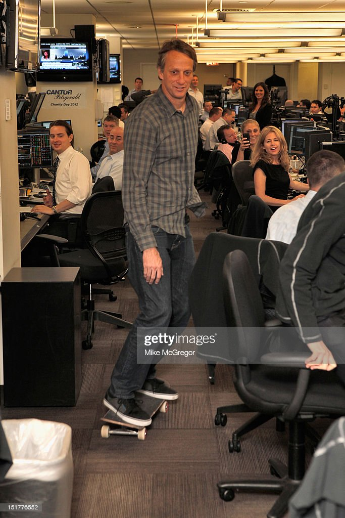 Pro skater <a gi-track='captionPersonalityLinkClicked' href=/galleries/search?phrase=Tony+Hawk&family=editorial&specificpeople=201818 ng-click='$event.stopPropagation()'>Tony Hawk</a> attends Cantor Fitzgerald & BGC Partners host annual charity day on 9/11 to benefit over 100 charities worldwide at Cantor Fitzgerald on September 11, 2012 in New York City.