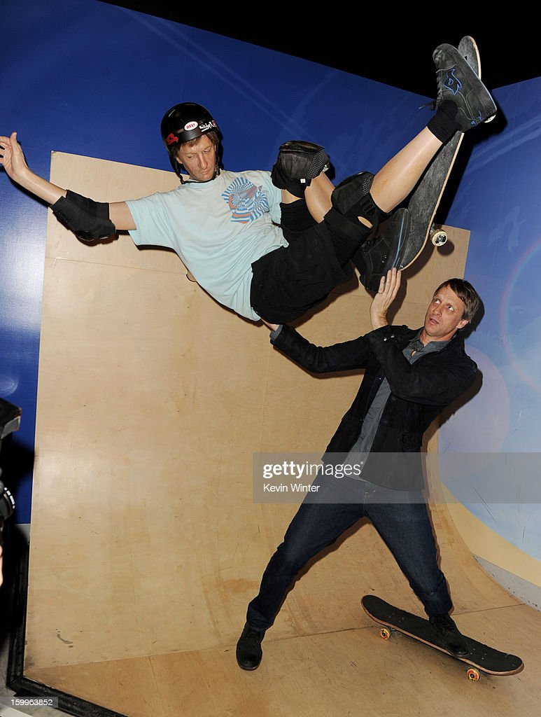 Pro Sketer <a gi-track='captionPersonalityLinkClicked' href=/galleries/search?phrase=Tony+Hawk&family=editorial&specificpeople=201818 ng-click='$event.stopPropagation()'>Tony Hawk</a> poses with a wax figure of himself at the after party for the premiere of Relativity Media's 'Movie 43' at Madame Tussaud's Hollywood on January 23, 2013 in Los Angeles, California.