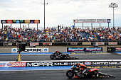 Pro Stock motorcycles take off for qualifying during day one of the MoPar Mile High Nationals at Bandimere Speedway on July 22 2016