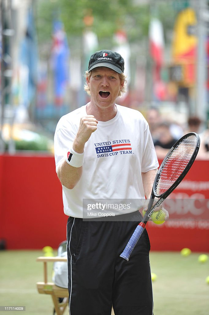 "Jim Courier Hosts CityParks Foundation Kids Tennis Clinic As Part Of ""HSBC Bank presents Wimbledon At Rockefeller Center"""