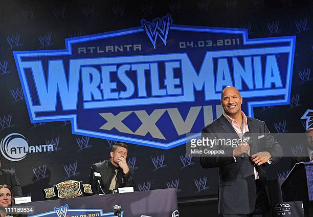 Pro wrestler Dwayne 'The Rock' Johnson attends the WrestleMania XXVII press conference at Hard Rock Cafe New York on March 30 2011 in New York City