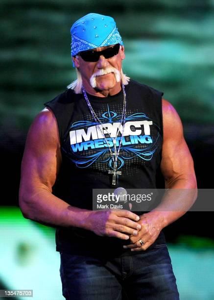 Pro wrestler Hulk Hogan speaks onstage at Spike TV's '2011 Video Game Awards' at Sony Studios on December 10 2011 in Los Angeles California
