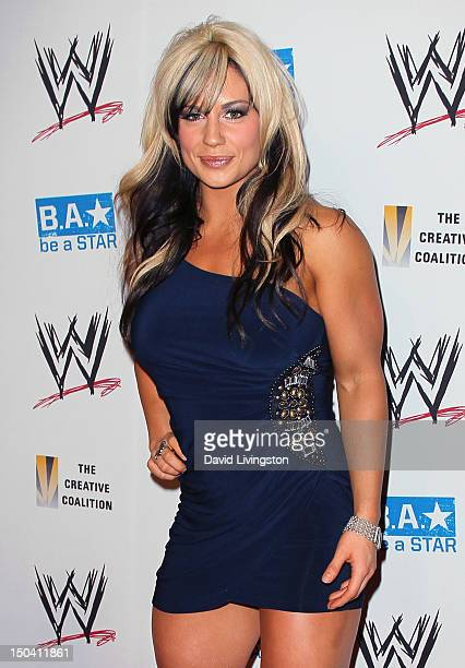 Pro wrestler Kaitlyn aka Celeste Beryl Bonin attends the WWE and The Creative Coalition's SummerSlam Kickoff Party at the Beverly Hills Hotel on...