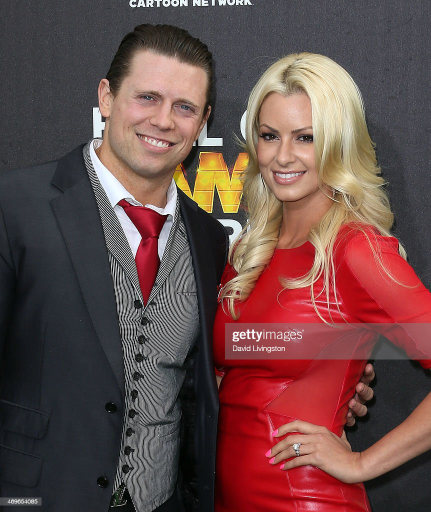 Pro wrestler <a gi-track='captionPersonalityLinkClicked' href=/galleries/search?phrase=The+Miz&family=editorial&specificpeople=4420661 ng-click='$event.stopPropagation()'>The Miz</a> (L) and fiancee Maryse Ouellet attend Cartoon Network's Hall of Game Awards at Barker Hangar on February 15, 2014 in Santa Monica, California.
