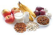 Probiotic (prebiotic) rich foods including lentils, almonds, yogurt and fresh fruit