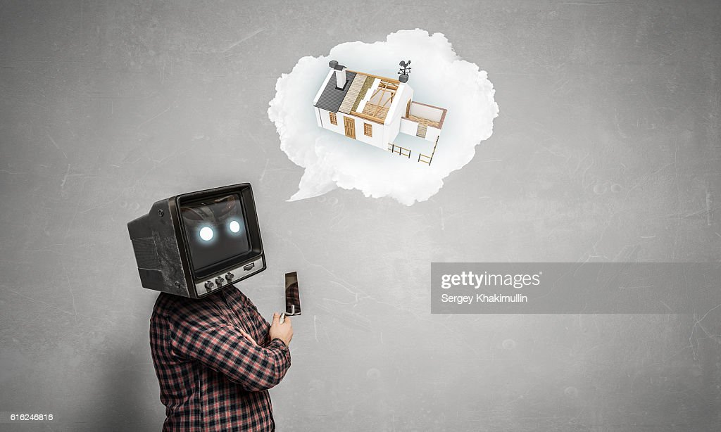 Problem of television addiction . Mixed media : Stock Photo