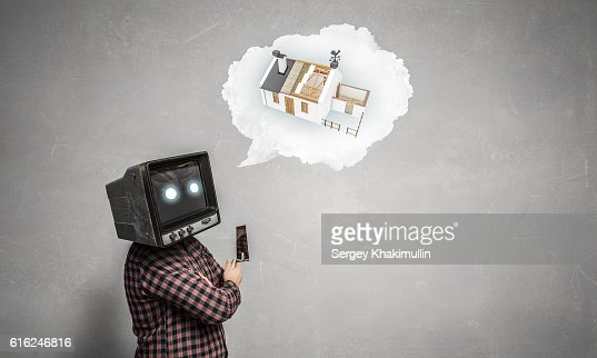 Problem of television addiction . Mixed media : Foto stock
