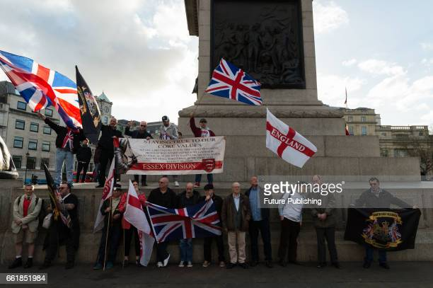 ProBrexit and antiimmigration activists gather for 'March For Britain March For Brexit' demonstration to celebrate Britain's exit from the European...