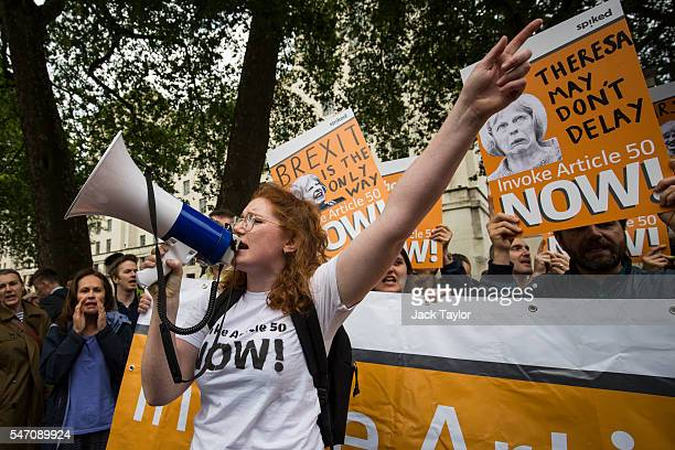 A probrexit demonstrator chants during a protest outside Downing Street following the arrival of new Prime Minister Theresa May at Number 10 on July...