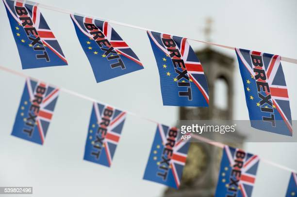 ProBrexit flags fly from a fishing boat moored in Ramsgate on June 13 2016 Britain's opposition Labour Party today scrambled to make the case for...