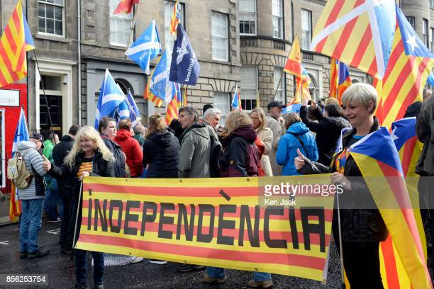 ProCatalonia demonstrators protest outside the Spanish Consulate General in Edinburgh on the day Catalonia attempted to hold a referendum on...