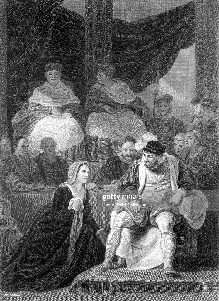 Proceeding in invalidation of the marriage of Henry VIII and Catherine of Aragon in 1529 (in the background, the cardinal Wolsey and Thomas More). Engraving, B.N.F.