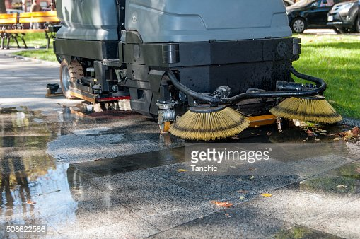 process of cleaning walkways in the machine : Stock Photo