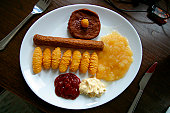 Processed food on a plate.