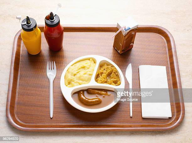 Processed meal on a tray