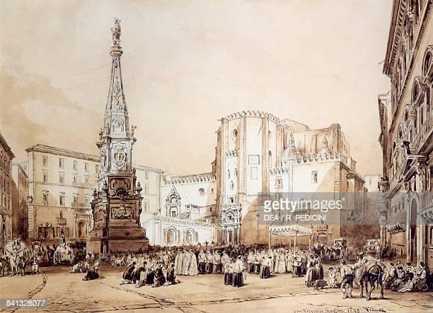 Procession in Piazza San Domenico Maggiore in Naples by Achilles Vianelli 28x39 cm