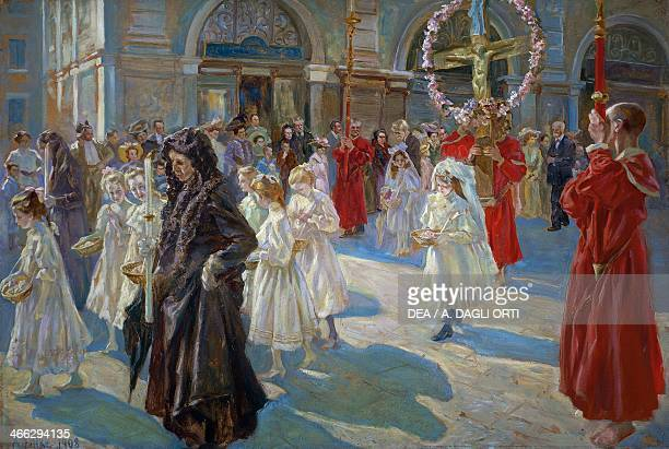Procession of Corpus Christi in Piazza Grande in Trieste painting by Arturo Fittke