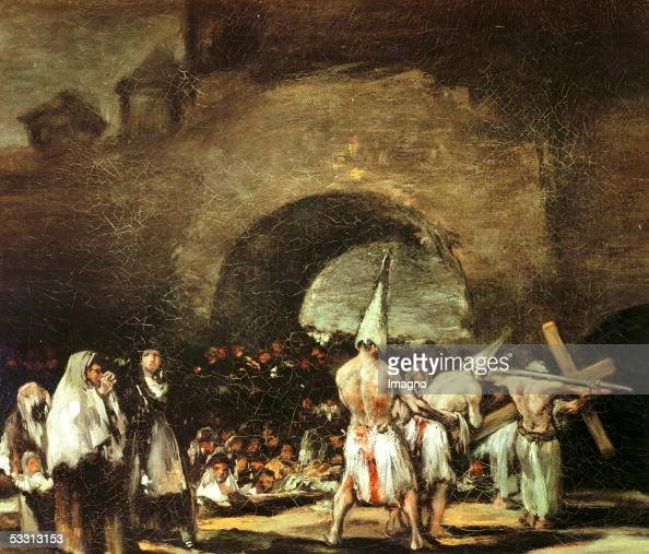 Procession of flagellants near an arch 1813 Canvas G 676 [Prozession der Flagellanten Gemaelde 1813]