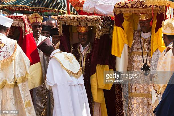 Procession of priests carrying Ark of the Covenant replica's, Timket, celebration of Epithany, Christian Orthodox Church, Addis Ababa, Ethiopia