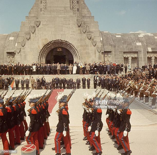 Procession of Saint Cyriens before the ossuary in Douaumont for the 50th anniversary of the Battle of Verdun in June 1966 In the background is...