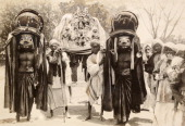 Procession of the Indian Goddess of Smallpox and her grotesque attendants circa 1890