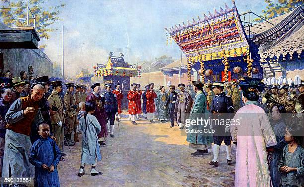 Procession of wedding gifts from Puyi Xuantong Emperor of China to his fiancee Lady Gobulo Empress Xiaokemin Beijing / Peking Published in May 1923...