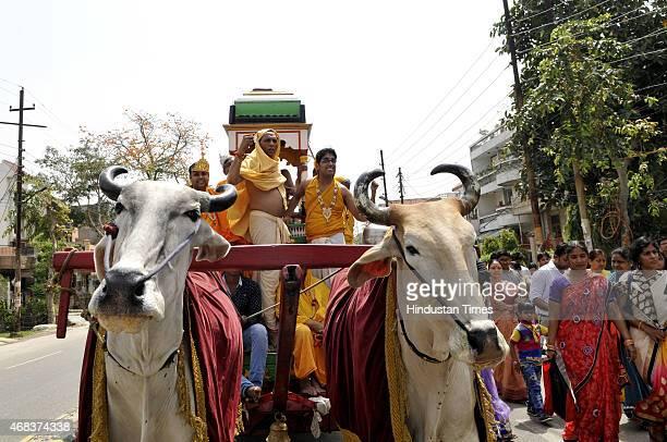 A procession organised by Jain community on the occasion of Mahavir Jayanti on April 2 2015 in Noida India It celebrates the birth of Mahavira twenty...