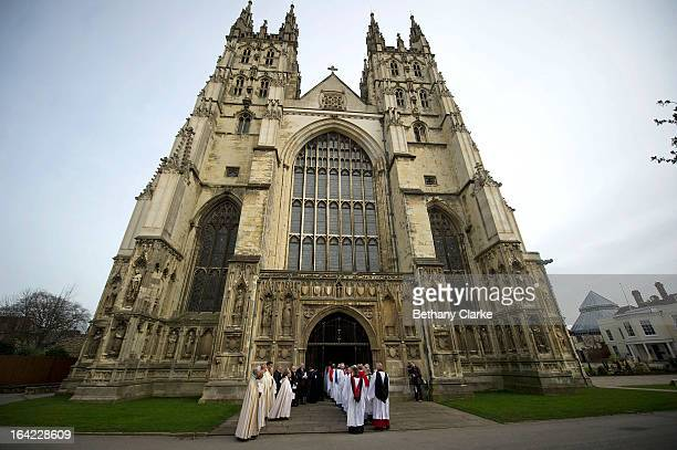 Processions enter Canterbury Cathedral for the enthronement of Justin Welby as Archbishop of Canterbury on March 21 2013 in Canterbury EnglandThe...
