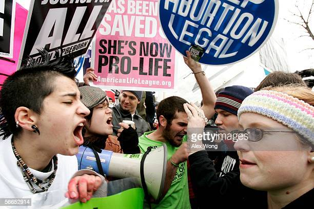 Prochoice activists argue with Prolife activists on abortion issues in front of the US Supreme Court January 23 2006 in Washington DC Thousands of...