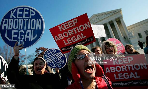 Prochoice activists chant in front of the US Supreme Court November 30 2005 in Washington DC The highest court in the US is hearing the first case on...